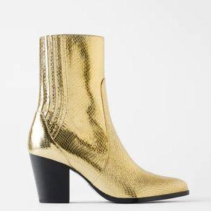 NWT Zara Gold Animal Print Metallic Heeled Boot